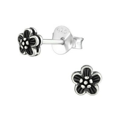 P28-45 Sterling Silver Antiqued Tiny Flower Posts