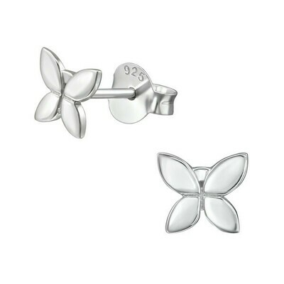 P28-49 Sterling Silver Shiny Butterfly Posts