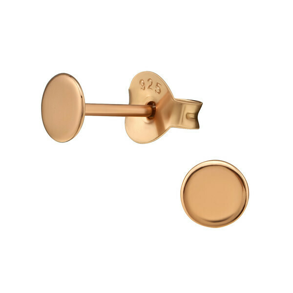P41-1 Circle Posts - Rose Gold Plated Sterling Silver