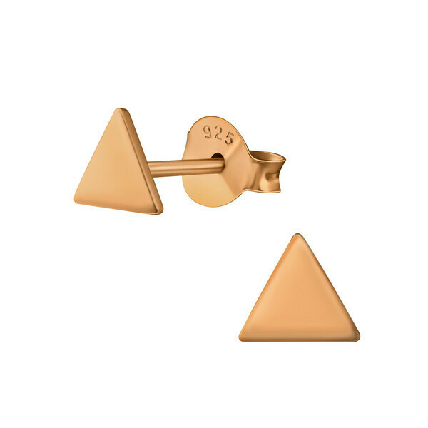 P41-8 Triangle Posts - Rose Gold Plated Sterling Silver