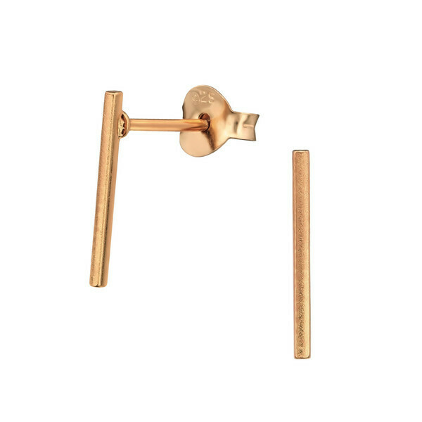P41-20 Bar Posts  - Rose Gold Plated Sterling Silver