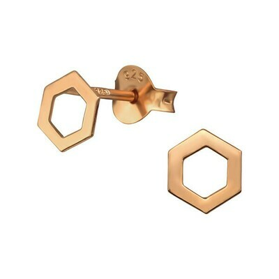P41-22 Open Hexagon Posts  - Rose Gold Plated Sterling Silver
