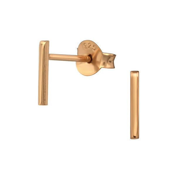 P41-21 Bar Posts  - Rose Gold Plated Sterling Silver
