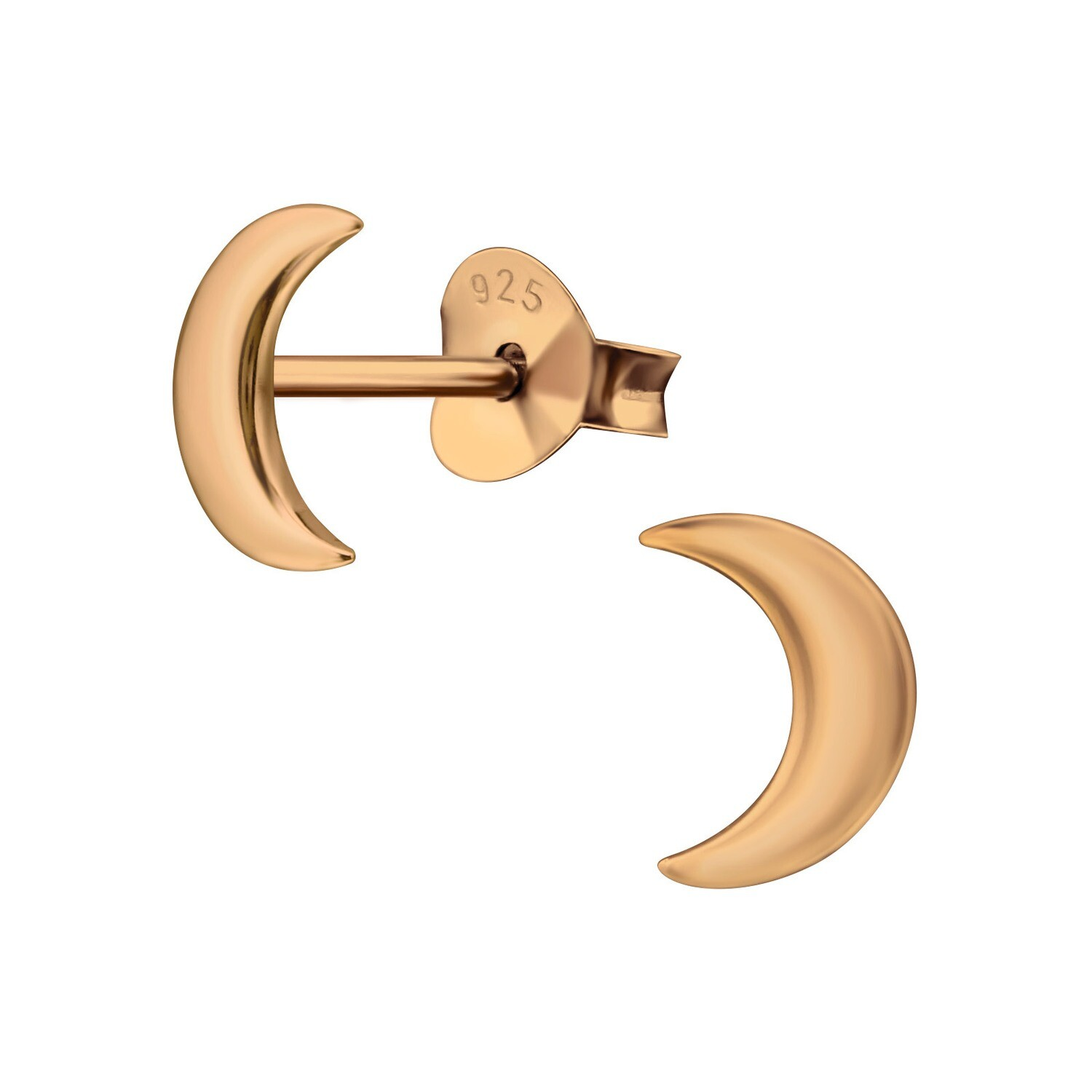 P41-9 Crescent Moon Posts - Rose Gold Plated Sterling Silver