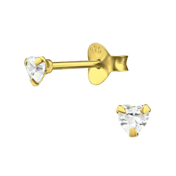 P40-46 Tiny CZ Heart Posts - Gold Plated Sterling Silver