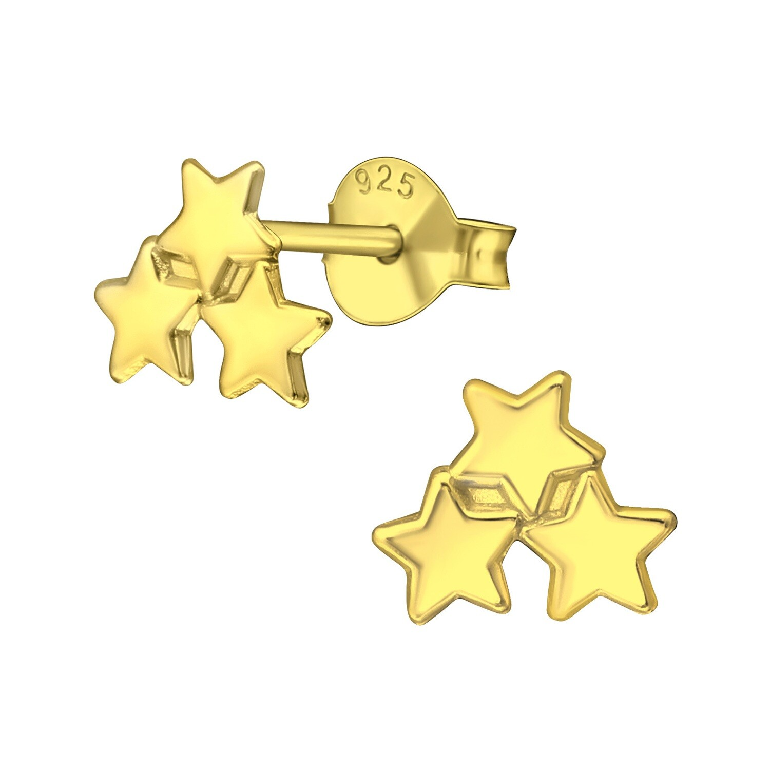 P40-71 Triple Star Cluster - Gold Plated Sterling Silver