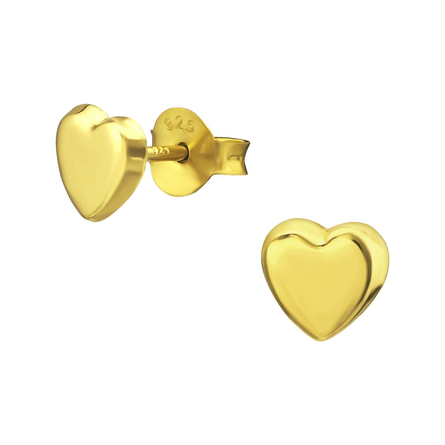 P40-25 Heart Posts - Gold Plated Sterling Silver