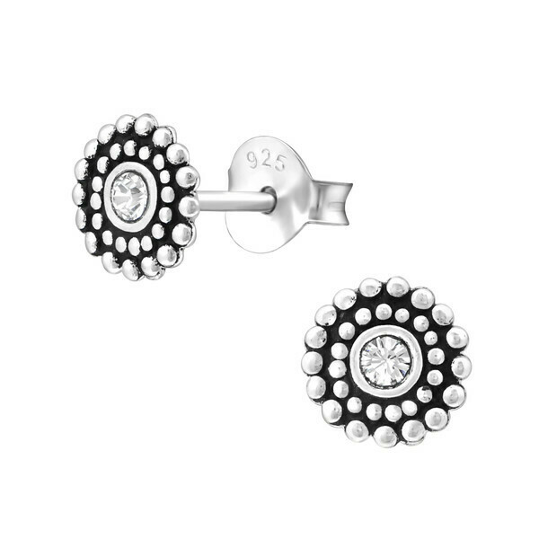 P35-3 Sterling Silver 6mm Round Antiqued CZ  Posts