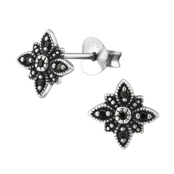 P35-15 Sterling Silver Floral CZ Posts