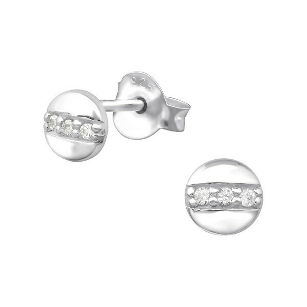 P35-23 Sterling Silver Tiny Round Center Pave CZ Posts