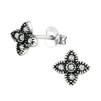 P35-18 Sterling Silver Pave' CZ Four Point Floral Posts
