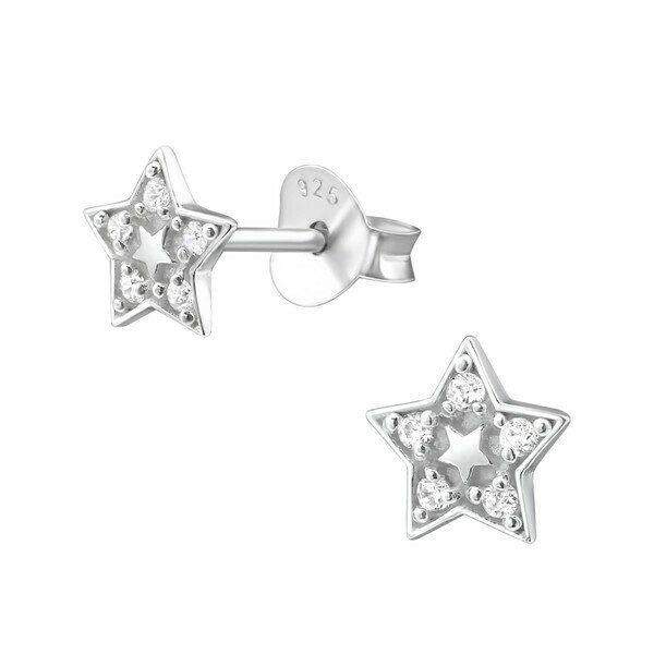 P35-22 Sterling Silver Pave Star Posts