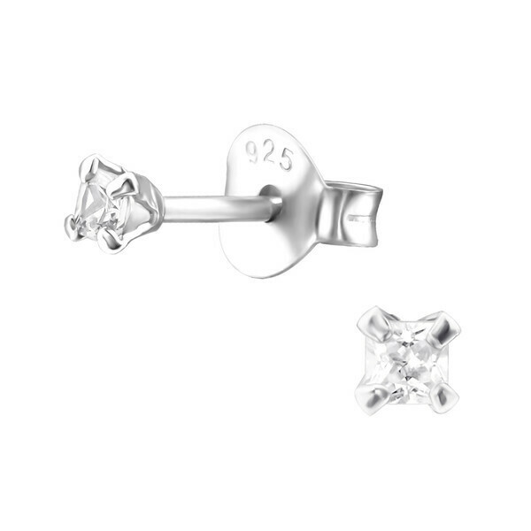 P35-30 Sterling Silver Tiny 2mm Squared CZ Posts