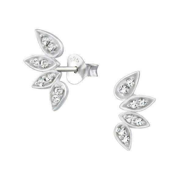 P35-35 Sterling Silver Leaf Fan Post