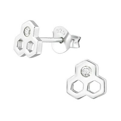 P35-40 Sterling Silver Honeycomb + CZ Posts