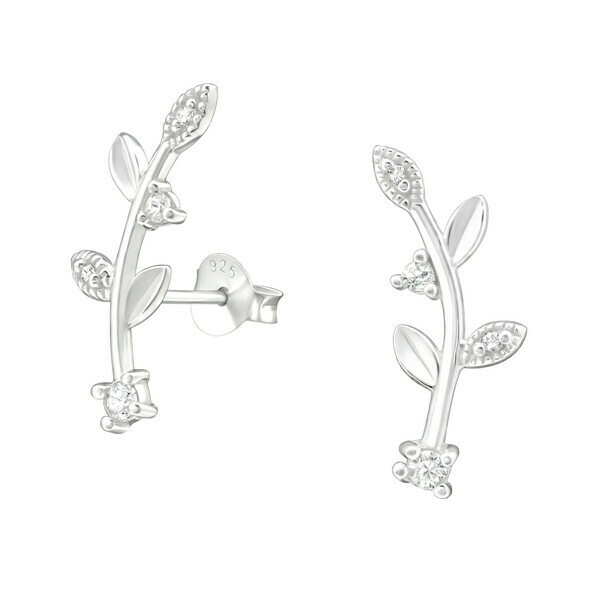 P35-43 Sterling Silver Curved CZ Vine Posts