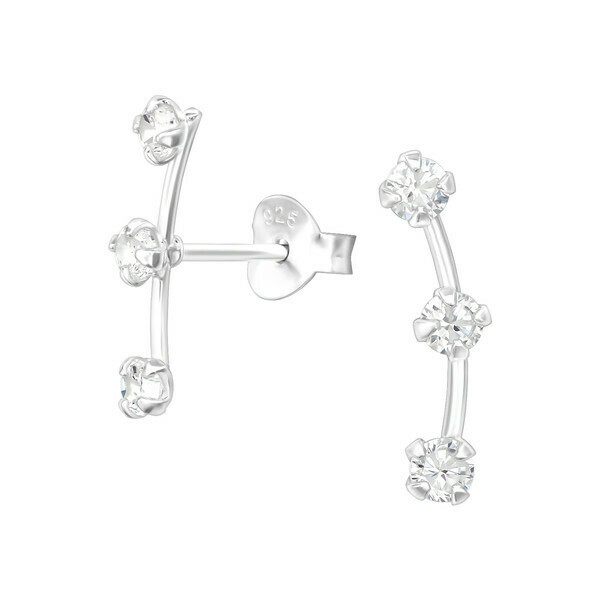 P35-50 Sterling Silver CZ Curved Bar Posts