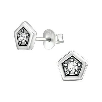 P36-14 Sterling Silver Pentagon CZ Posts