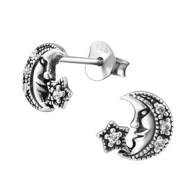 P36-17 Sterling Silver Antiqued Man in the Moon CZ Posts