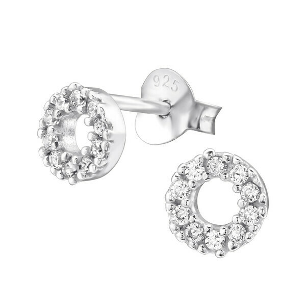 P36-13 Sterling Silver Open Circle CZ Posts