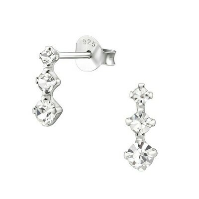 P36-19 Sterling Silver Light Triple Graduated Dots Posts
