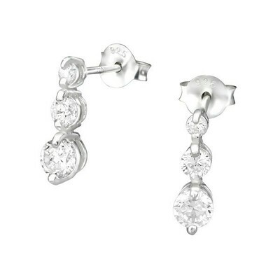 P36-21 Sterling Silver  3 Graduated CZ Dots Posts
