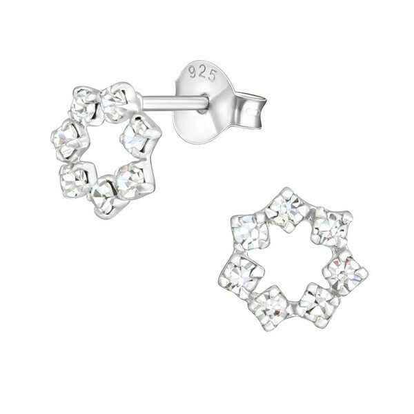 P36-24 Sterling Silver Polygon Crystal Posts