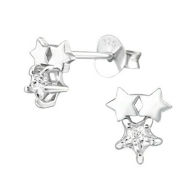 P36-38 Sterling Silver Triple Star CZ Posts