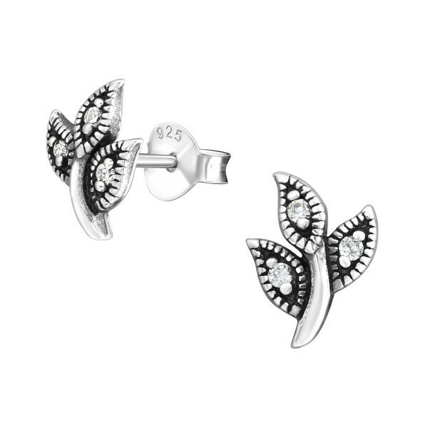 P36-59 Sterling Silver Antiqued Leaf CZ Posts