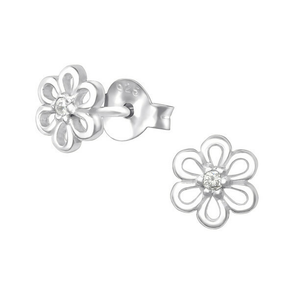 P36-62 Sterling Silver Little Daisy CZ Posts