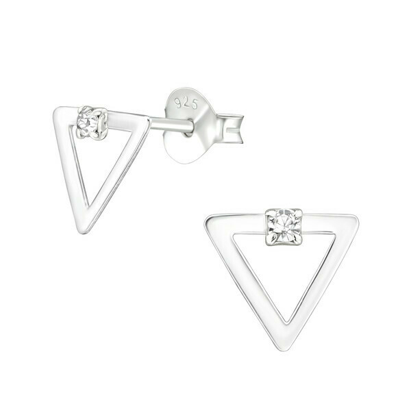 P36-69 Sterling Silver Open Triangle  CZ Dot Posts