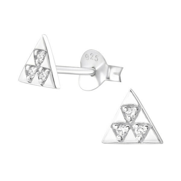 P36-70 Sterling Silver Triangle CZ Posts