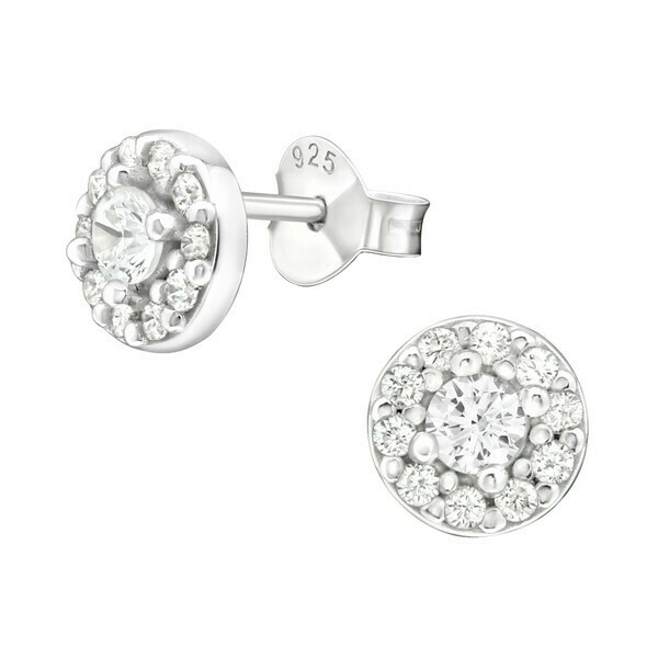 P36-76 Sterling Silver 6mm Round Pave CZ Posts