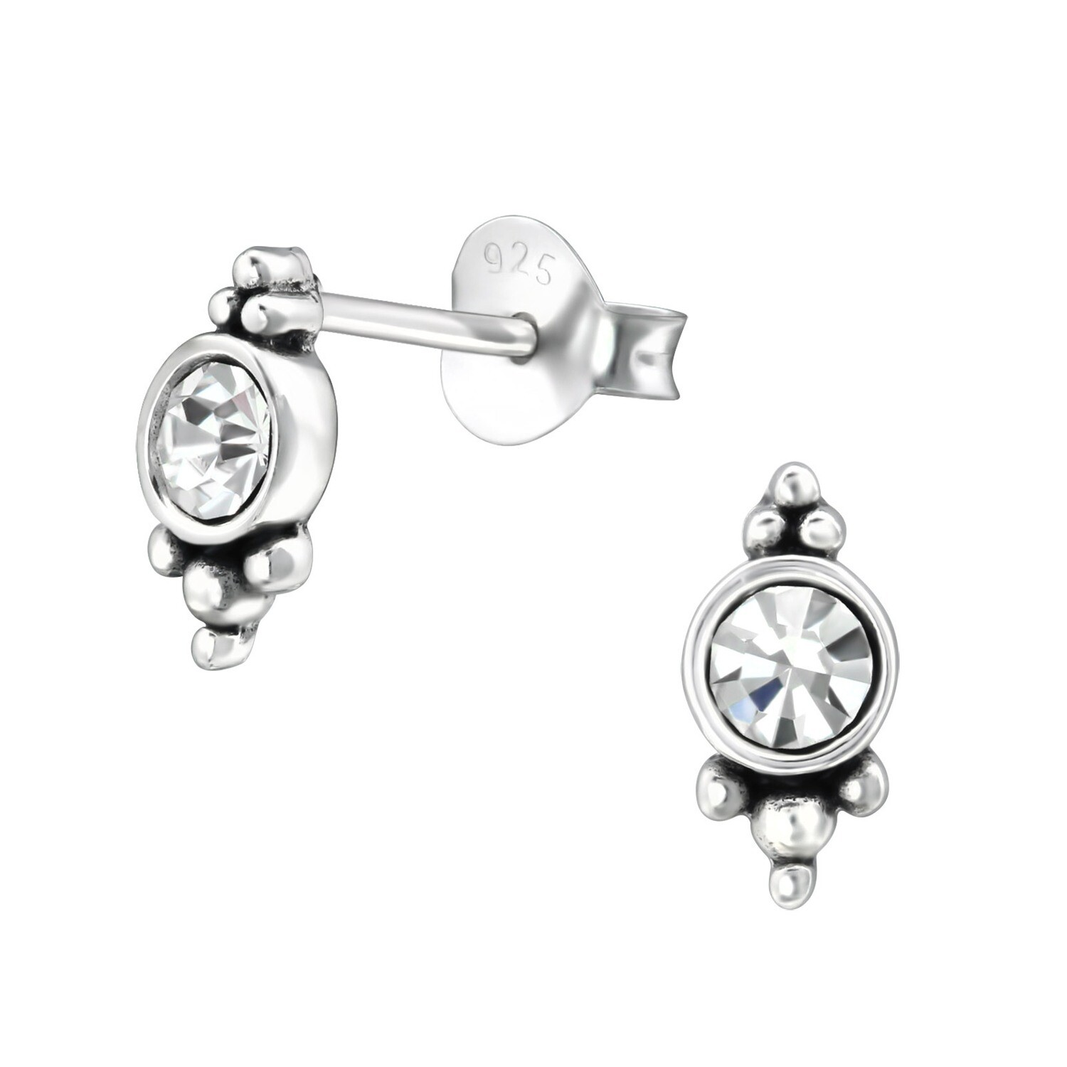 P36-49 Sterling Silver Antiqued Bali Crystal Posts