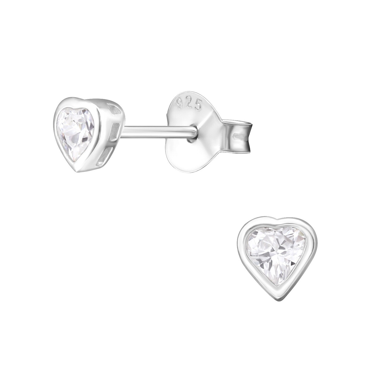 P36-23 Sterling Silver Small Bezel CZ Heart Posts