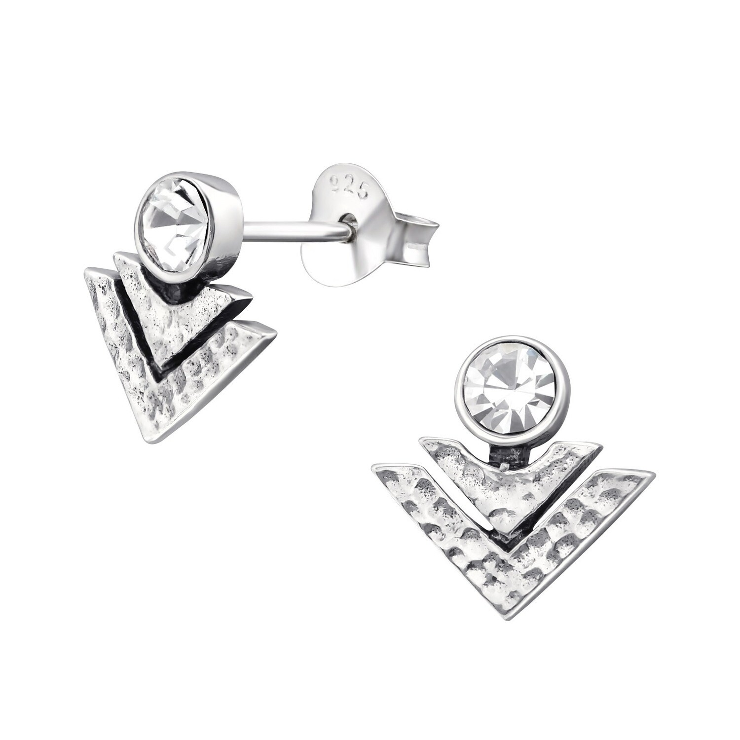 P36-41 Sterling Silver CZ Chevron Stack Posts