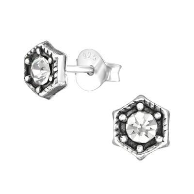 P36-66 Sterling Silver Open Hexagon + CZ Dot Posts