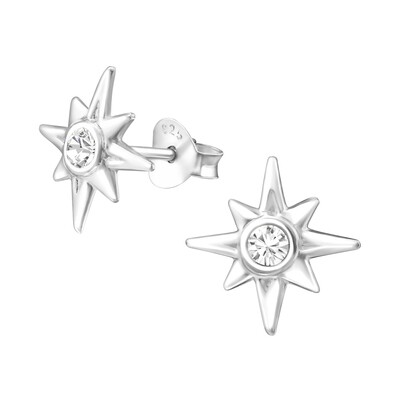 P35-4 Sterling Silver Sunburst + CZ Posts