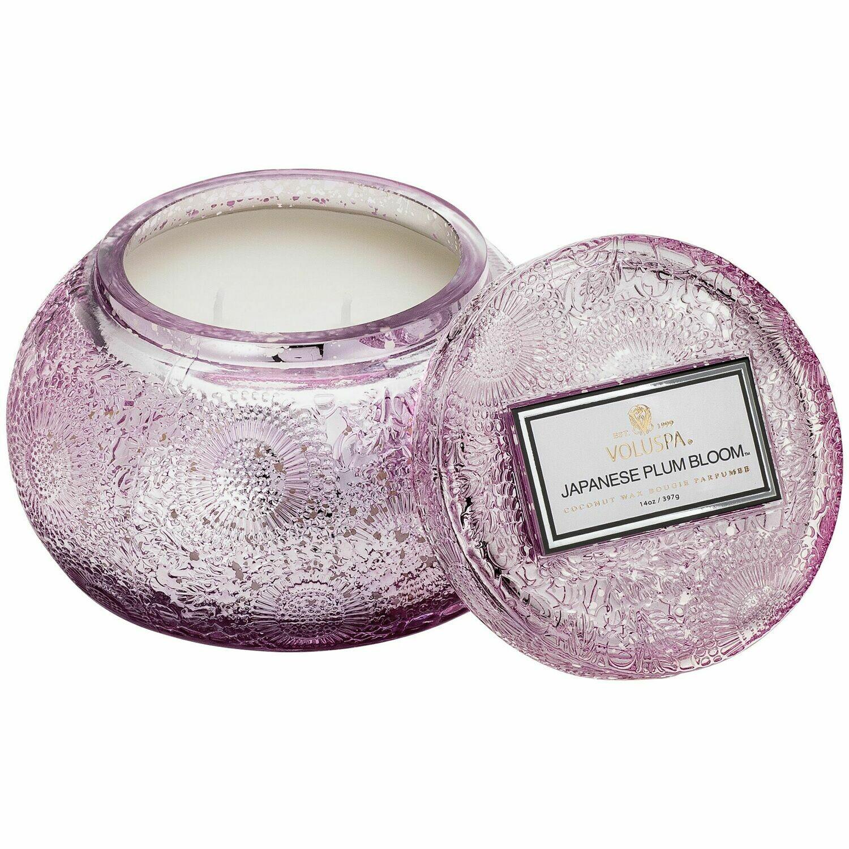 Japanese Plum Bloom Candle - Voluspa Glass Chawan Bowl