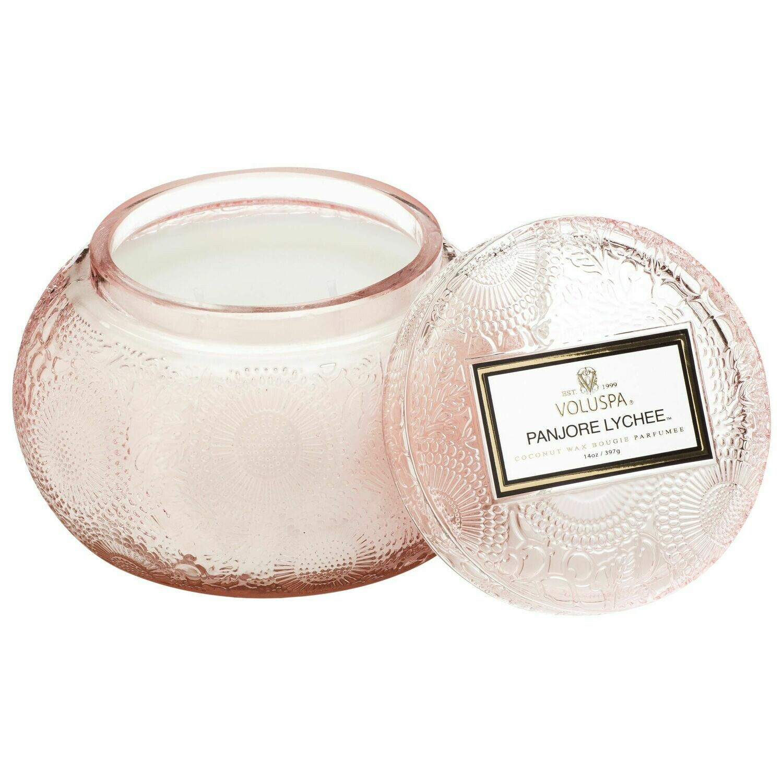 Panjore Lychee Candle - Voluspa Glass Chawan Bowl