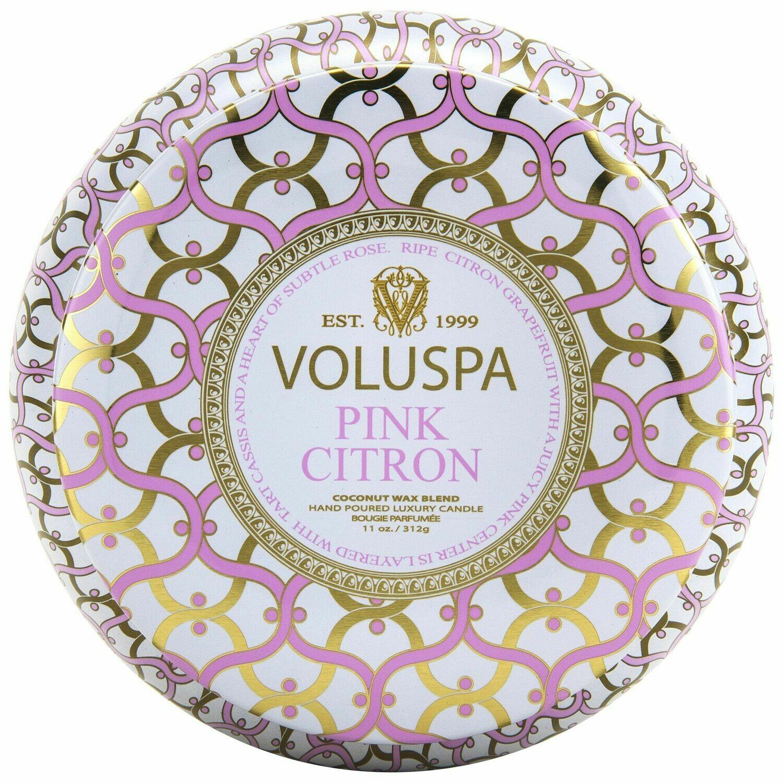 Pink Citron Candle - Voluspa Maison Blanc 2 Wick Tin 11oz