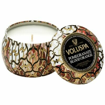 Pomegranate Blood Orange Candle - Voluspa Maison Noir Petite Tin 4oz