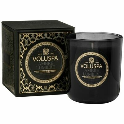 Ambre Lumiere Candle - Voluspa Maison Noir Large Boxed Candle -  12oz