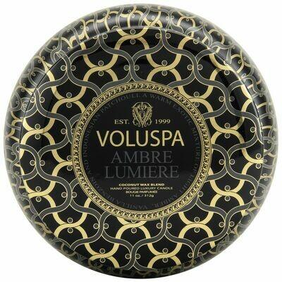 Ambre Lumiere Candle - Voluspa Maison Noir 2 Wick Tin 11oz