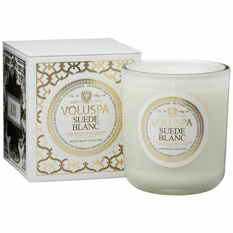 Suede Blanc Candle - Voluspa Maison Blanc Large Boxed Candle 12oz