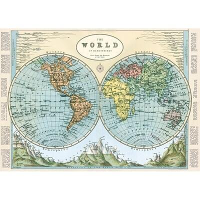 World Map Hemispheres Poster #410
