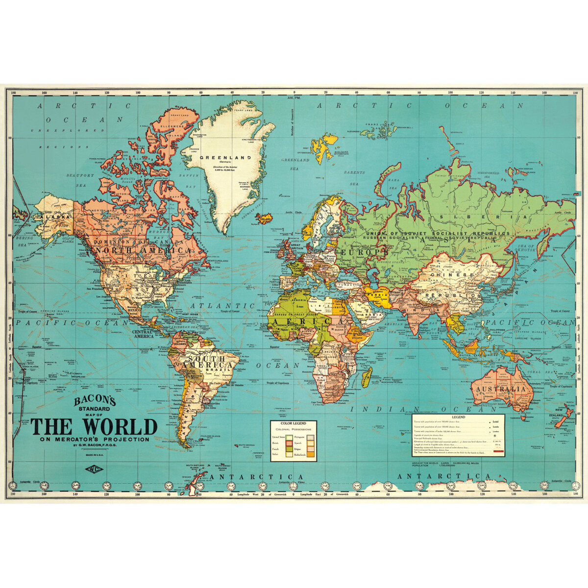 World Map 4 Blue Poster #408