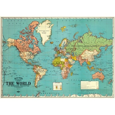 World Map 4 Blue Poster #408