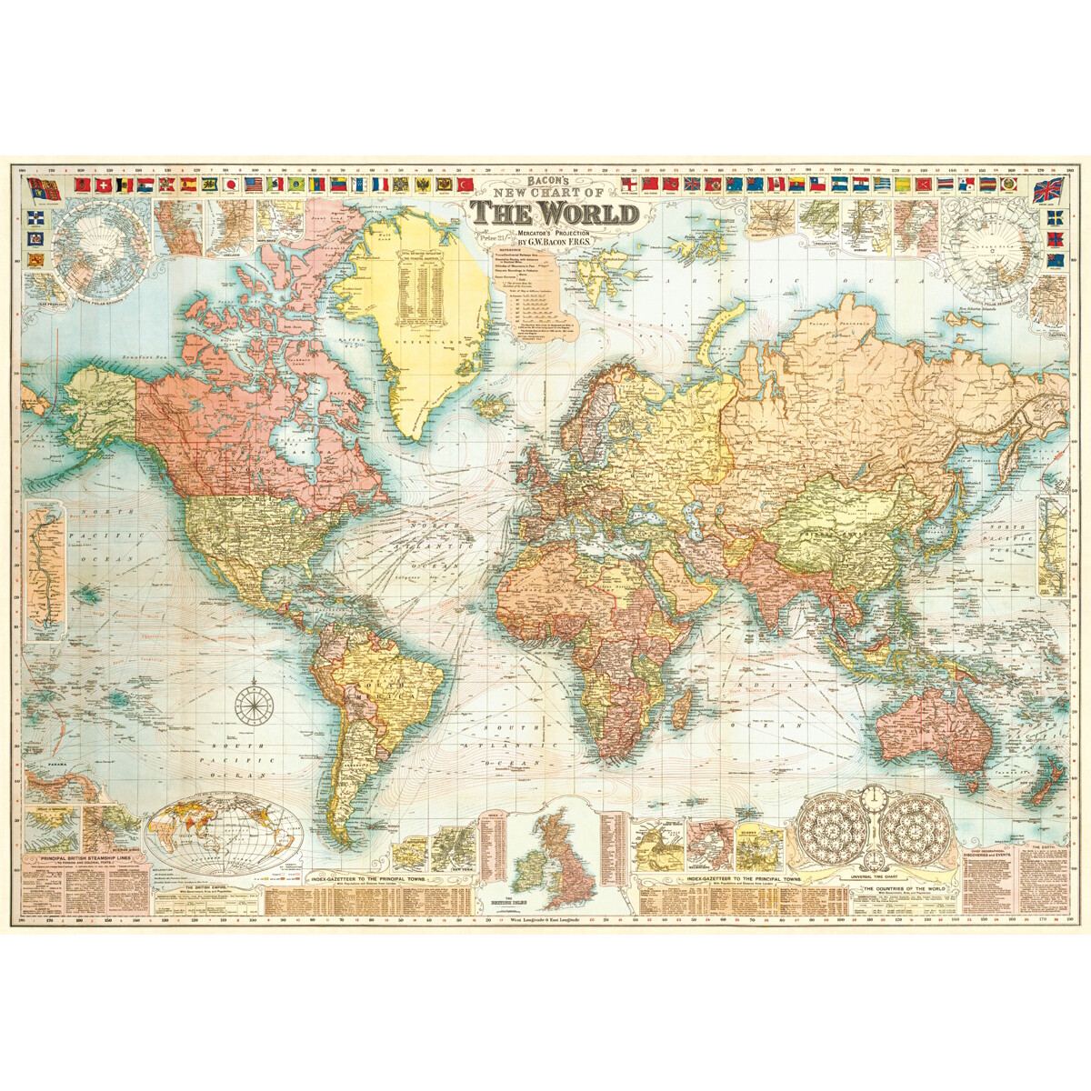 World Map 5 Flag Border Poster #409