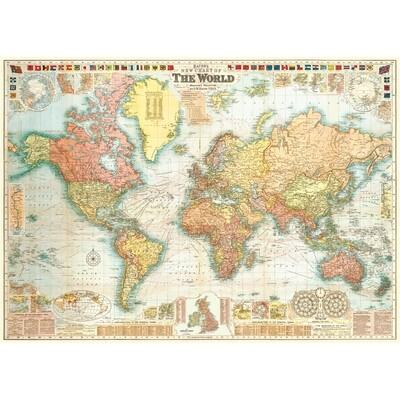 World Map 5 Flag Border Poster #409